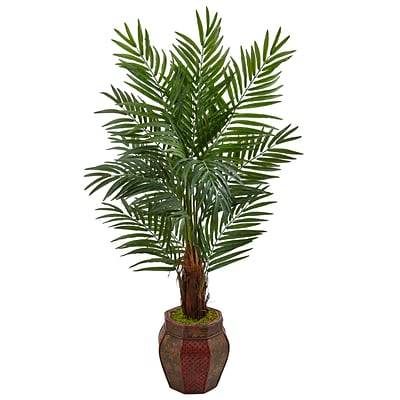 Nearly Natural 5'H Areca Palm Tree in Weave Planter (5971)