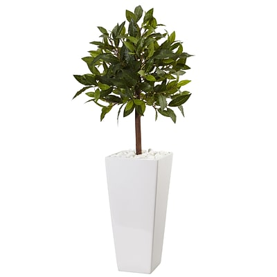 Nearly Natural 3' Sweet Bay Tree in White Tower Planter (5979)
