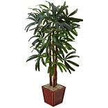 Nearly Natural 5'H Raphis Palm Tree in Bamboo Planter (5983)