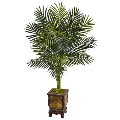 Nearly Natural 4.5'H Golden Cane Palm Tree in Wooden Decorated Planter (5989)