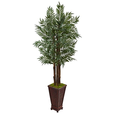 Nearly Natural 5' Parlor Palm Tree in Wooden Decorated Planter (5990)