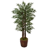 Nearly Natural 4.5' Parlour Palm Tree in Bamboo Planter (5991)