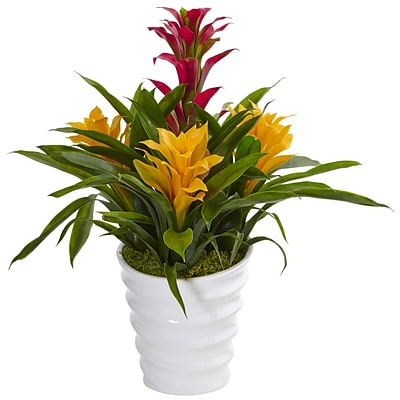 Nearly Natural Bromeliad in White Swirl Vase (6304)