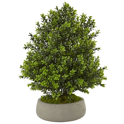 Nearly Natural Boxwood Plant in Stone Planter (Indoor/Outdoor) (6312)