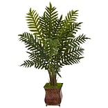 Nearly Natural 4' Evergreen Plant in Metal Planter (6322)