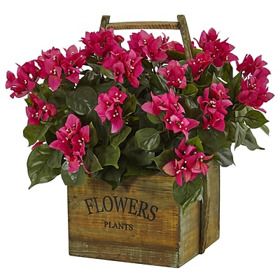 Nearly Natural Bougainvillea in Rustic Wood Planter (6323)