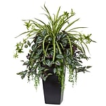 Nearly Natural Wandering Jew and Spider Plant in Black Planter (6326)