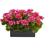 Nearly Natural Geranium in Rectangular Planter UV Resistant(6949-BU)