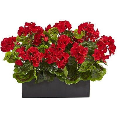 Nearly Natural Geranium in Rectangular Planter, UV Resistant (6949-RD)