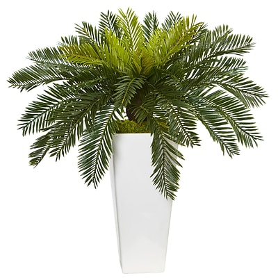 Nearly Natural Cycas in White Planter (6951)