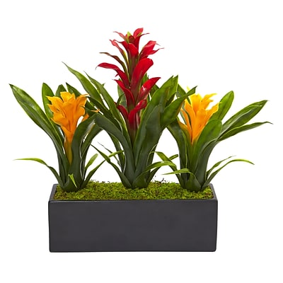 Nearly Natural Bromeliads in Rectangular Planter (6954-RY)