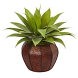 Nearly Natural Agave Succulent in Weave Planter (6961)