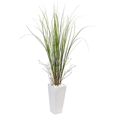 Nearly Natural Bamboo Grass in White Tower Ceramic (6963)