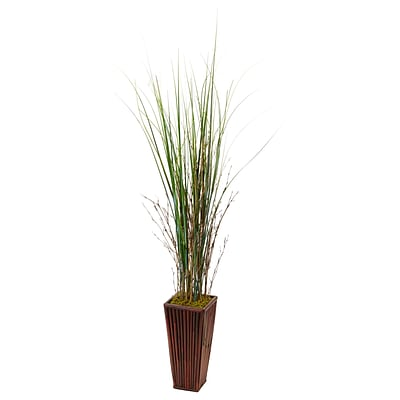 Nearly Natural Bamboo Grass in Bamboo Planter (6965)