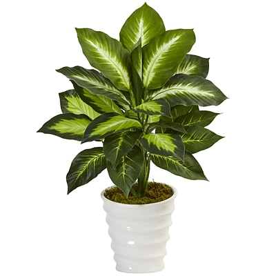 Nearly Natural Dieffenbachia in Swirl Planter (6973)