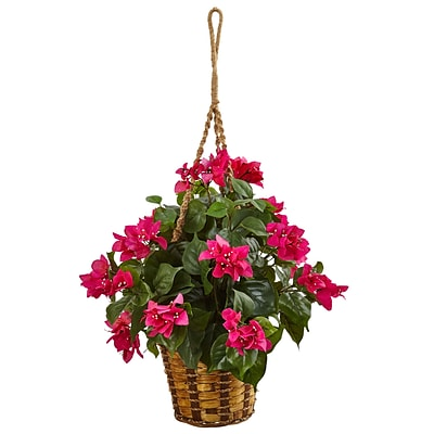Nearly Natural Bougainvillea in Hanging Basket (6988)