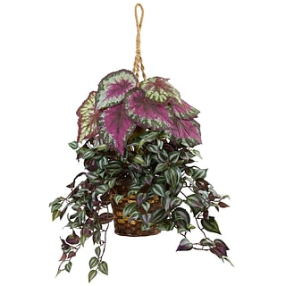Nearly Natural Wandering Jew and Begonia Hanging Basket (6995)