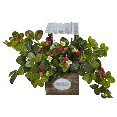 Nearly Natural Strawberry Bush in Garden Planter (6999)