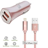 Apple Certified Lightning Cable with Dual USB High Speed Car Charger for iPhone (CAR48MFI4FT-ROS)