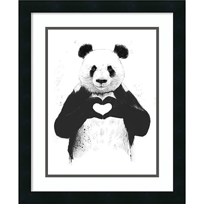 Amanti Art Framed Art Print All You Need Is Love (Panda) by Balazs Solti 18W x 22H Frame Satin Black (DSW3893072)