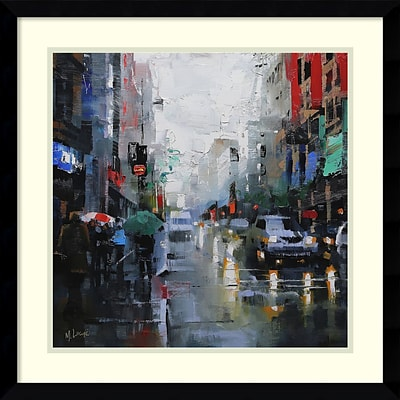 Amanti Art Framed Art Print St. Catherine Street Rain by Mark Lague 21 x 21 Frame Satin Black (DSW3893092)