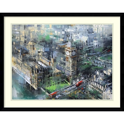 Amanti Art Framed Art Print London Green - Big Ben by Mark Lague  29 x 23 Frame Satin Black (DSW3894356)