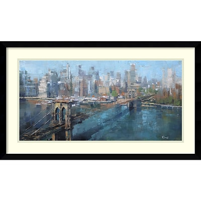 Amanti Art Framed Art Print Brooklyn Bridge by Mark Lague 29 x 17 Frame Satin Black (DSW3894357)