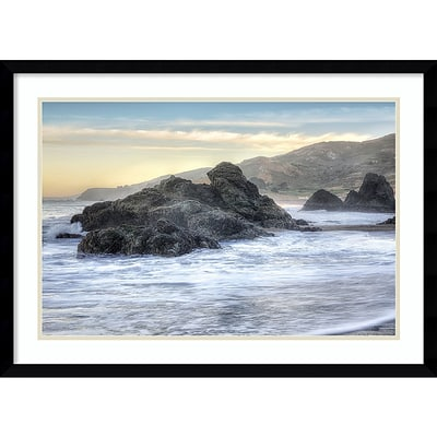 Amanti Art Framed Art Print Rodeo Beach Waves 4 by Alan Blaustein 29 x 21H, Frame Satin Black  (DSW3894374)