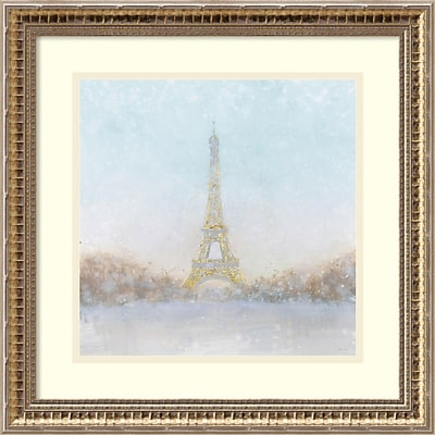 Amanti Art Framed Art Print Eiffel Romance no Couple Turquoise by Marco Fabiano 18 x 18, Frame Gold  (DSW3894398)