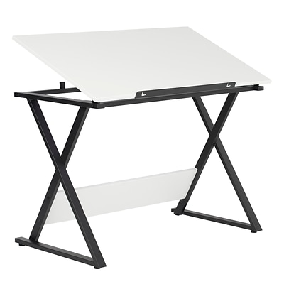 "Studio Designs 42""W Laminate Axiom Drawing Table Charcoal / White (13353)"