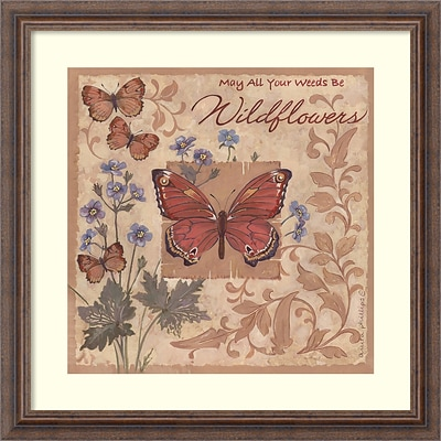 Amanti Art Framed Art Print Butterflies and Flowers by Anita Phillips 23W x 23H, Frame Rustic Wood (DSW3902402)