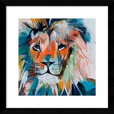 Amanti Art Framed Art Print Do You Want My Lions Share by Angela Maritz 17W x 17H, Satin Black (DSW3902618)