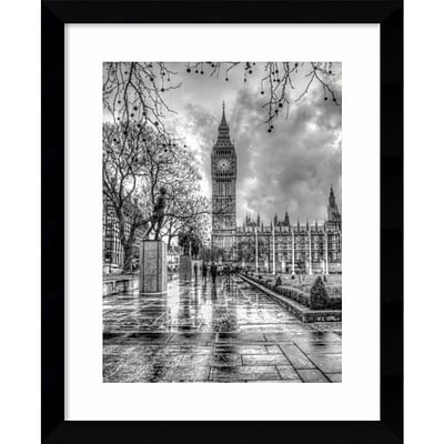 Amanti Art Framed Art Print Rainy Day (London) by Joe Reynolds 27 x 33 Frame Satin Black  (DSW3909236)