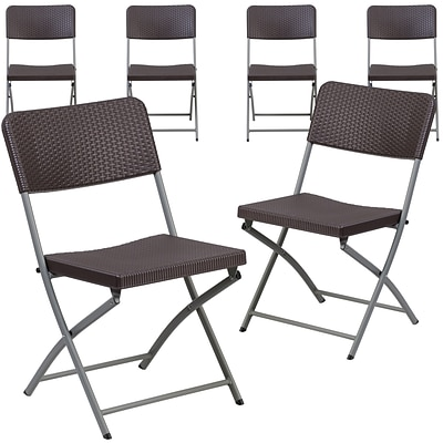 Flash Furniture Hercules Plastic Brown Rattan Plastic Folding Chair, Set of 6 (6DADYCZ61)