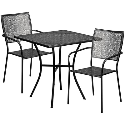 Flash Furniture 28 Square Black Patio Table Set (CO28SQ02CHR2BK)