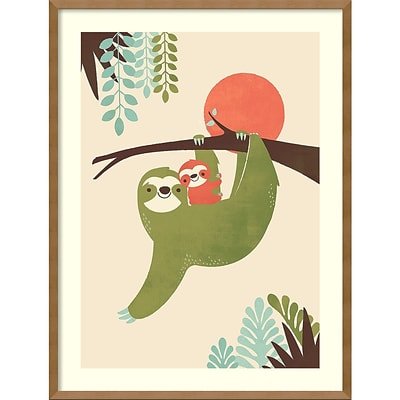 Amanti Art Framed Art Print Mama Sloth by Jay Fleck 25W x 33H Frame Natural Maple (DSW3909482)