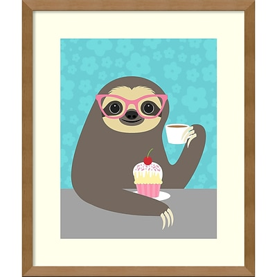 Amanti Art Framed Art Print Diva Sloth by Nancy Lee 16W x 19H, Natural Maple (DSW3909512)