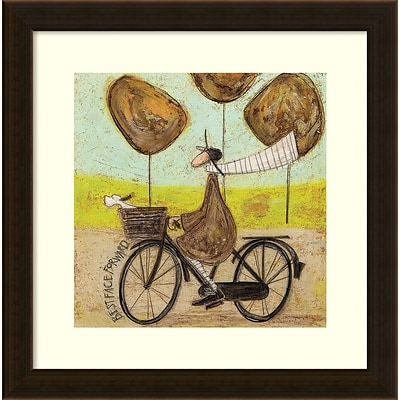 Amanti Art Framed Art Print Best Face Forward Bike by Sam Toft 17W x 17H Frame Espresso Brown (DSW3909521)