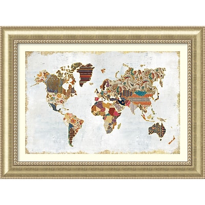 Amanti Art Framed Art Print Pattern World Map by Laura Marshall 47W x 35H, Frame Champagne (DSW3909591)