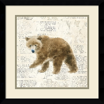 Amanti Art Framed Art Print Into the Woods VI no Border (Bear) by Emily Adams 17W x 17H Frame Satin Black (DSW3909693)