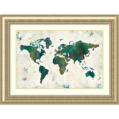 Amanti Art Framed Art Print Discover the World (Map) by Melissa Averinos 49W x 37H, Frame Champagne (DSW3909706)