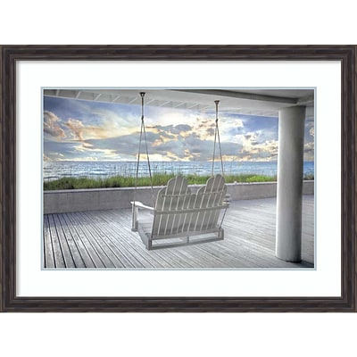 Amanti Art Framed Art Print Swing At The Beach by Celebrate Life Gallery  43 x 31H, Frame Rustic Pine (DSW3910566)