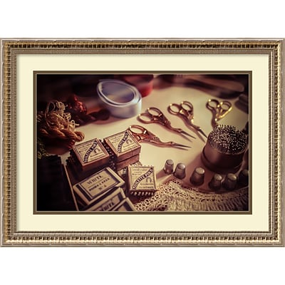 Amanti Art Framed Art Print Old World Sewing by Matt Marten 26 x 19 Frame Champagne Gold (DSW3910642)