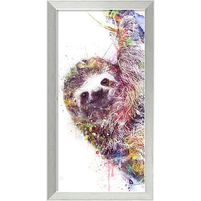 Amanti Art Framed Art Print Sloth by Veebee 14W x 26H Frame Brushed Steel (DSW3910669)
