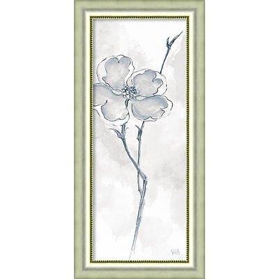 Amanti Art Framed Art Print Solitary Dogwood II Gray (Floral) by Chris Paschke 19W x 40H, Frame Silver (DSW3926488)