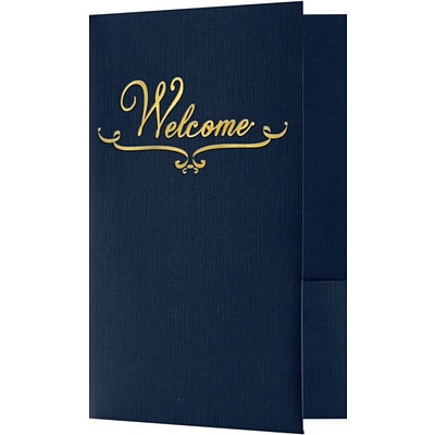 LUX Welcome Folders - Standard Two Pockets - Gold Foil Stamped Design 250/Pack, Dark Blue Linen (WELDDBLU100GF25)