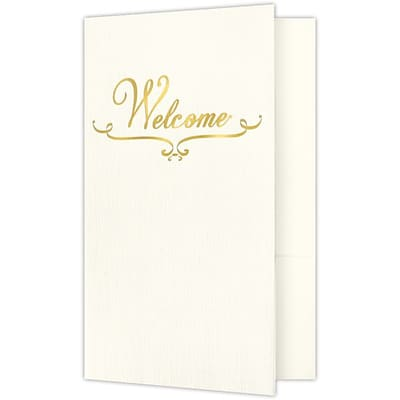 LUX Welcome Folders - Standard Two Pockets - Gold Foil Stamped Design 250/Pack, Natural Ivory Linen (WELBN100GF250)