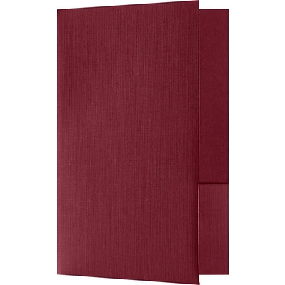 LUX Small Presentation Folders - Two Pockets 250/Pack, Burgundy Linen (MF144DB100250)