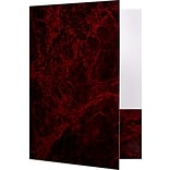 LUX 9 x 12 Presentation Folders - Standard Two Pocket 25/Pack, Burgundy Marblecoat (SF101CMBUR1225)