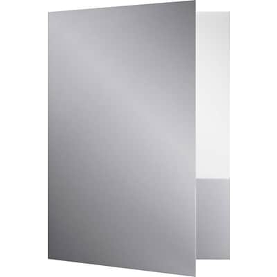 LUX 9 x 12 Presentation Folders - Standard Two Pocket 25/Pack, Silver (SF101SGLOSS25)